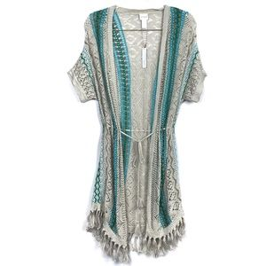 Chicos Fringe Belted Crochet Knit Cardigan Sweater